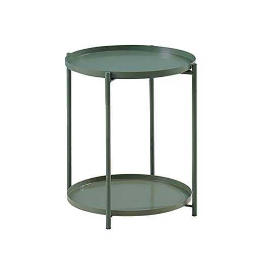 Iron Tea Table,End Table Side Table Wrought Iron 2 Tier Coffee Table, Storage Small Round Sofa Table, Balcony Flower Stand (Color : Green)