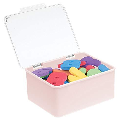 mDesign Organizador de juguetes con tapa – Juguetero apilable de plástico robusto – Caja de almacenaje para guardar juguetes o manualidades en la habitación infantil – transparente y rosa clar