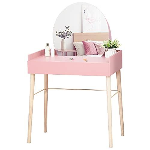 HOMCOM Tocador Mesa de Maquillaje con Espejo Redondo Cajón y Patas de Madera Maciza Estilo Moderno Nórdico para Dormitorio Vestidor 76x48x123,5 cm Rosa