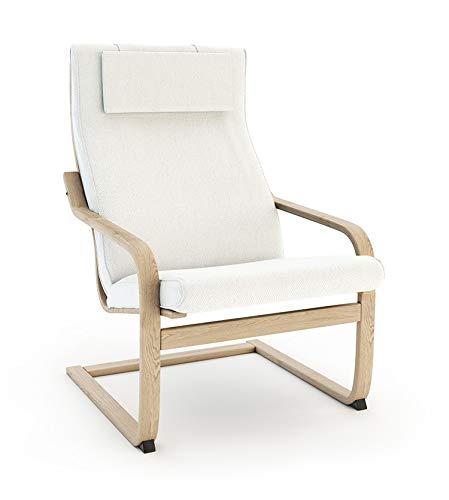 Masters of Covers Ersatzbezug für den Sessel Poäng von Ikea, baumwolle Polyester, Baumwolle - Weiß, Cushion Design 2