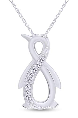 Jewel Zone US White Natural Diamond Penguin Infinity Pendant Necklace 14k White Gold Over Sterling Silver (1/10 Ct)