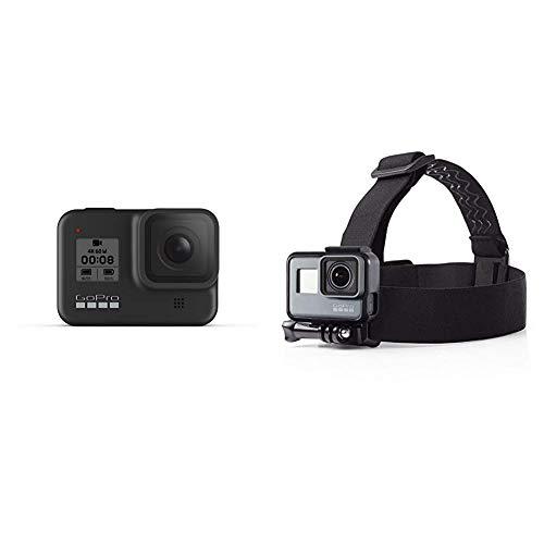 GoPro HERO8 Black - wasserdichte 4K-Digitalkamera mit Hypersmooth-Stabilisierung, Touchscreen und Sprachsteuerung - Live-HD-Streaming & Amazon Basics Kopfgurt für GoPro Actionkamera