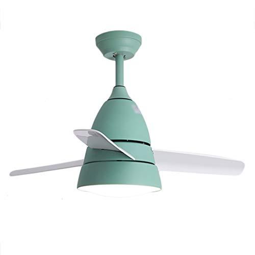 JYHW Ventilador de Techo Atenuación de la luz Reversible Habitación para niños Restaurante Dormitorio Minimalista Moderno Inicio Araña (Color : Frequency dimming, Size : Green)