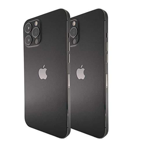 iPhone 12 PRO Skin (2X Stück) Schutzfolie für die Rückseite und Seiten in edler Optik inkl. Kameraschutz Schutz vor Kratzern (Schwarz Matt)
