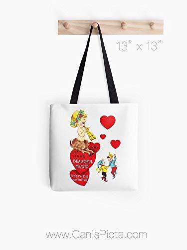 Vintage Faun - Bolso de San Valentín con impresión gráfica Pop Art Carryall reutilizable bolso de mano Vday Retro Corazón rojo tarjeta de Elfo música bailando Elfos canción