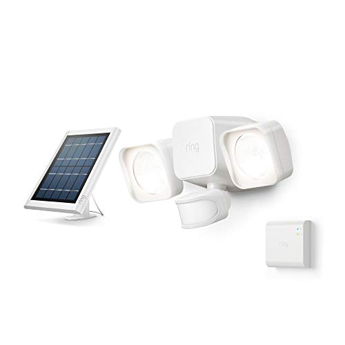 Introducing Ring Solar Floodlight, Outdoor Motion-Sensor Security Light, White (Starter Kit)