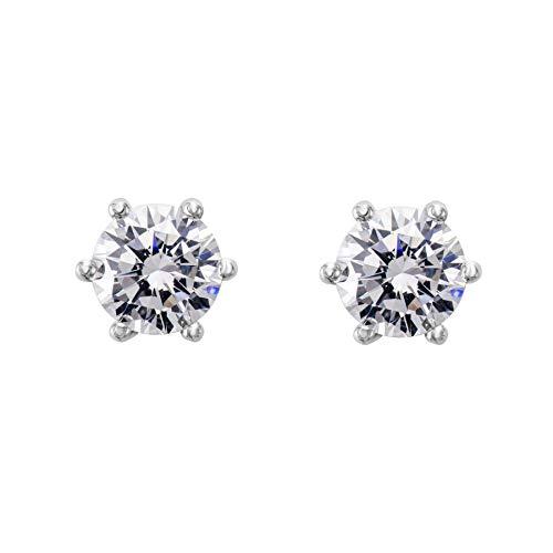 Flechazo 5mm/6mm Zirconia Cúbica Botón Pendientes para Mujer Niña Plata de ley 925 Seis Garras Diamante Simulación Lóbulo Piercing Oreja Perno Stud