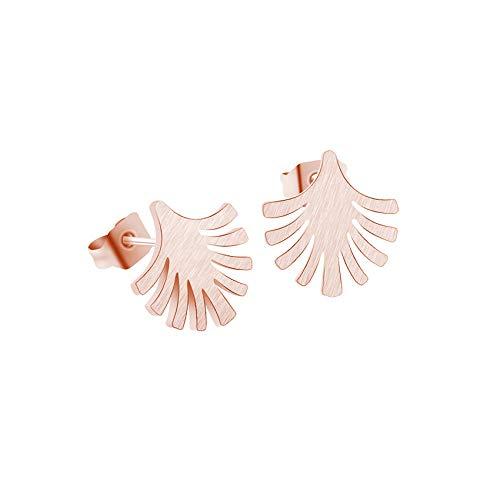 Pendientes de botón de hojas de palmera para mujer Oorbellen Joyería de moda Color dorado Planta linda Pendientes minimalistas Verano Bijoux-Rose_Gold_Color_China