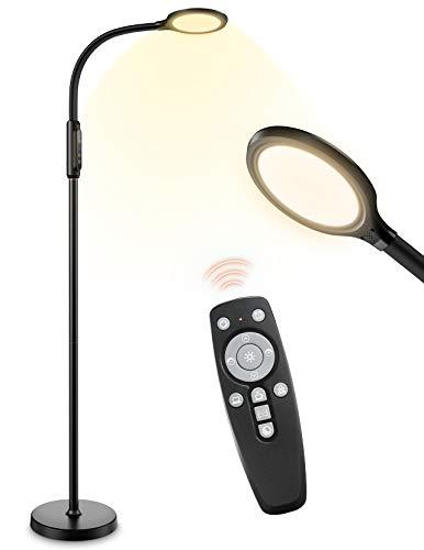 LITOM LED Stehlampe, 3 Höhen 95 Modus Leselampe 18W Dimmbar Standleuchte für Wohnzimmer mit Fernbedienung, 1800K-6500K, Timer, Memory Function, Schwanenhals Stehleuchte für Büro, Schlafzimmer (Black)