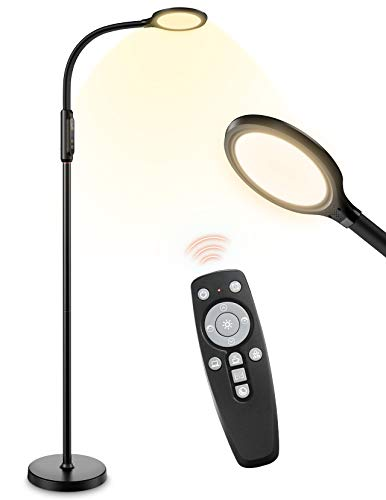 LITOM Lampadaire Liseuse LED, 3 in 1 Lampadaire sur Pied Télécommande, 10 Couleurs et 10 Niveaux de Luminosité,Lampe de Lecture 12W, Col de Cygne Flexible pour Salon, Chambre, Maison, Bureau, Dortoir