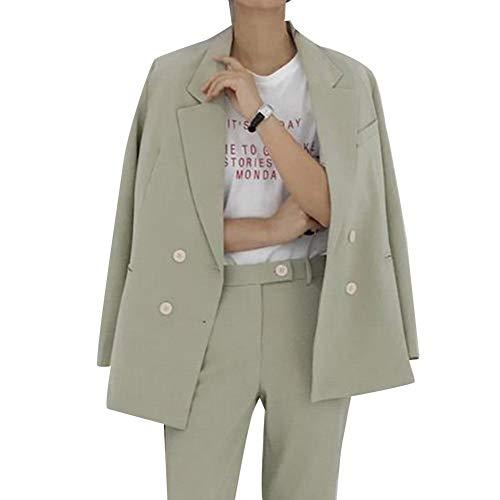 H2okp-009 2 stuks Office Lady pak set herfst effen dubbele blazer lange broeken eenvoudig casual