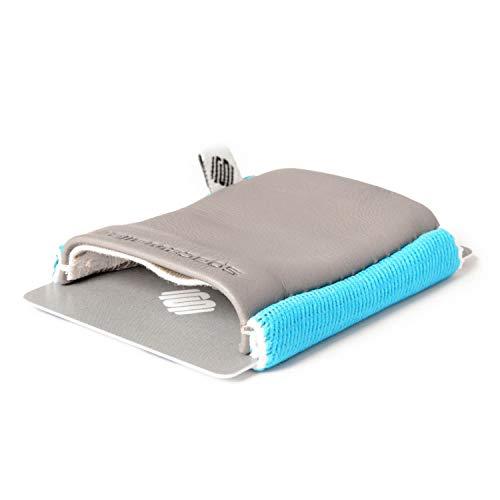 Space Wallet Classic I Mini Portemonnaie für Damen & Herren I Kleine Echtleder Geldbörse für bis zu 15 EC-Karten/Kreditkarten/Visitenkarten I Kartenetui mit Scheinfach (Surfer Grey)