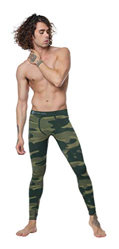 STARK SOUL Camouflage Functional Thermal Underwear Breathable Active Base Layer Set (Pants/Green, S/M)