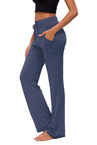 KESSER Pantaloni da Yoga da Donna Larghi Sportivi Abbigliamento Abbigli Sportivo con Tasche a Gamba Casual Corsa Lounge Lavoro Pantalone Pilates (Profondo Blu, XL)