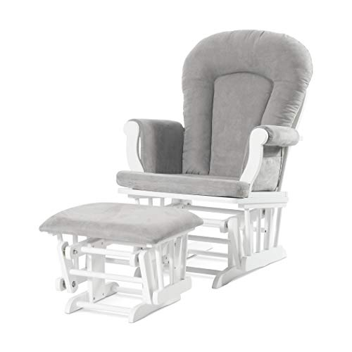 Cozy Glider and Ottoman, Matte White with Gray Cushion - Forever Eclectic by Child Craft