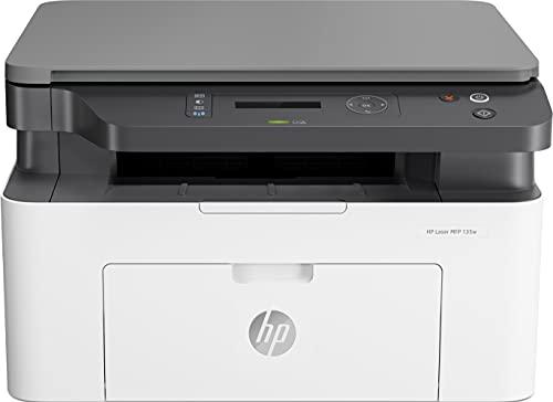 HP Laser MFP 135w 4ZB83A, Impresora Láser Multifunción Monocromo, Imprime, Escanea y Copia, Wi-Fi, USB 2.0 de alta velocidad, HP Smart App, Apple AirPrint, Panel de Control LCD, Blanca