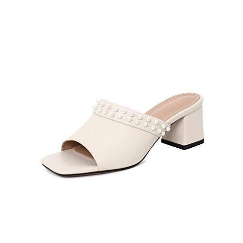 ANNIESHOE Mules Mujer Cuero Comodas Leather Sandalias Vestir Elegantes Bajas Shoes con Tacon Heels Verano Beige 37CN 37EU 23.5cm
