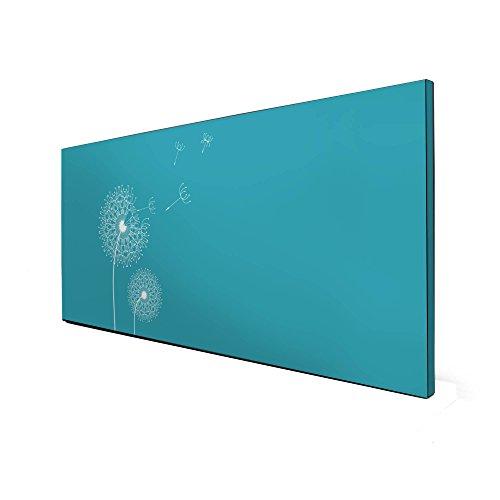 banjado Design Magnettafel schwarz | Wandtafel magnetisch 37x78cm groß | Metall Pinnwand | Memoboard mit Magneten und Montageset | Motiv Pusteblume 4