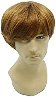 Fashion Natural Brown Short Hair Wigs for Men's Synthetic Full Wig Rose Net Wig