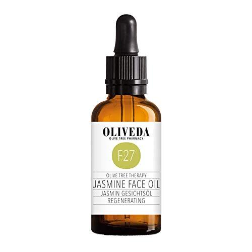 Oliveda F27 – Huile pour le visage au jasmin – Régénérante – Organique naturel   Nourrit + stimule l'élasticité de la peau   Huile intensive hydratante anti-âge + anti-rides – 50 ml