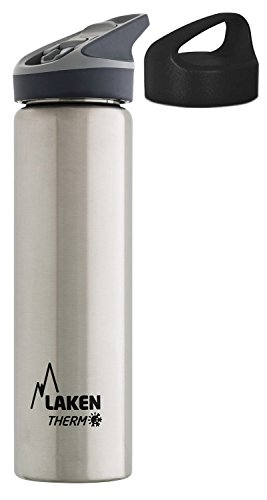 Laken Botella Térmica 750 ml de Acero Inoxidable 18/8 y Doble Pared, Tapón Jannu + Tapón Classic (Boca Ancha), Acero