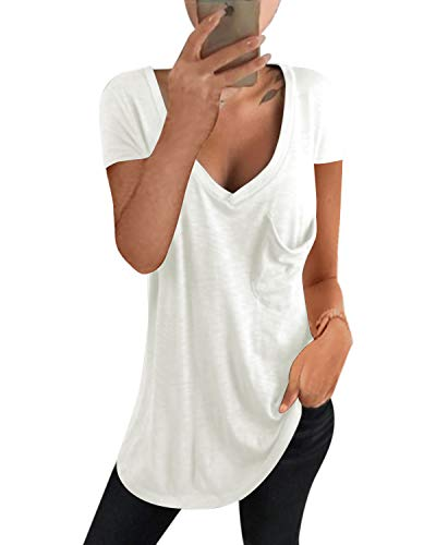 kenoce Camiseta Mujer de Manga Larga Blusa Cuello en V Casual Manga Corta Tshirt Sexy Color Sólido Elasticidad Pullover Blusas F-Blanco M