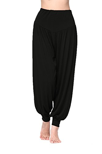BeautyWill Haremshose/Yogahose/Jogginghose/Yoga Pilates Hosen/Yoga pants Hose für Damen - für Sport und Training aus 95% Modal XXL, Schwarz