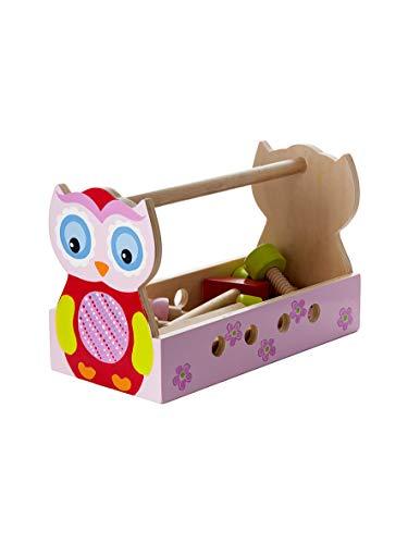 Mousehouse Gifts Jeu d'Imitation Bricolage en Bois boîte à Outils Jouet Enfant Cadeau de Hibou Eule Chouette pour Filles