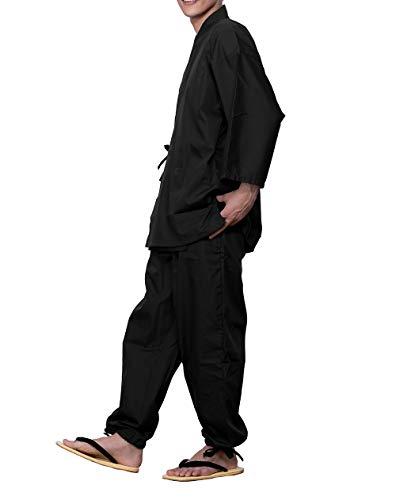[キョウエツ] 作務衣 さむえ 男性用 メンズ 夏 冬 大きいサイズ さむい男性用 通年 作務 衣 (L, 黒)