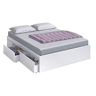 Práctica cama de dormitorio que incluye 4 amplias cajón eras extraíbles de almacenaje en la par.te inferior, acabado en color blanco artik (Blanco Mate). Medidas de la cama kendra 196 cm (largo) x 156 cm (ancho) x 37 cm (alto); el somier va soportado...