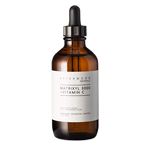 MATRIXYL 3000 + Vitamin C 4 oz Serum with Organic Hyaluronic Acid, Lighten Sun Damage and Wrinkles, Beautiful Skin Protection and Restoration Combo ASTERWOOD NATURALS Amber Bottle
