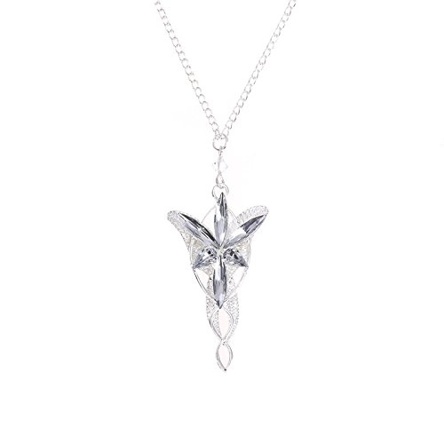 Prosperveil - Collana in argento con ciondolo a forma di drago, tema Elfa Arwen e Aragorn, Il Signore degli Anelli e base metal, colore: avorio, cod. 185705