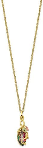 10k Tri Color Black Hills Gold Mystic Topaz Chain Necklace Pendant Charm Tree Leaf Fine Jewelry product image