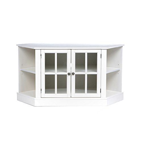 Thomas Corner Media Stand - Center Storage Area w/Adjustable Shelf - White Finish