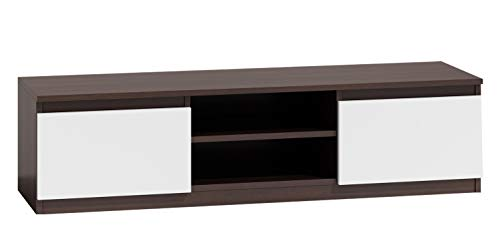 Mirjan24 TV Lowboard Monero 140, Fernsehschrank, Fernsehtisch, TV Tisch, Board, Schrank, B:140 cm, H:36 cm, T:40 cm, TV-Bank (Wenge/Weiß)