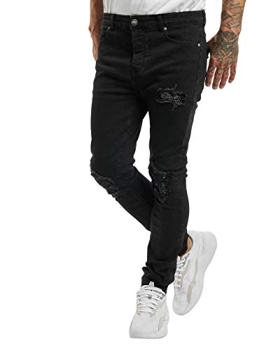 Sixth June Herren Skinny Jeans Inside Bandana Yoke schwarz W 33