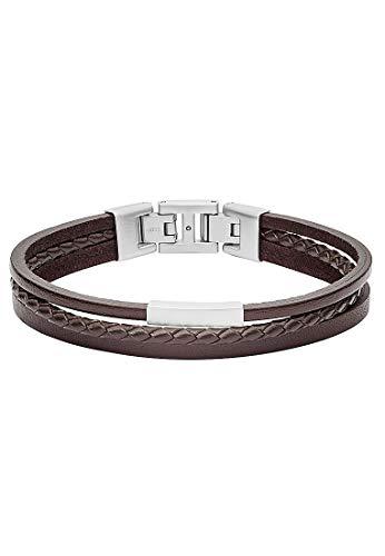 Fossil JF03323040 Herren Armband Silber Braun 19,5 cm