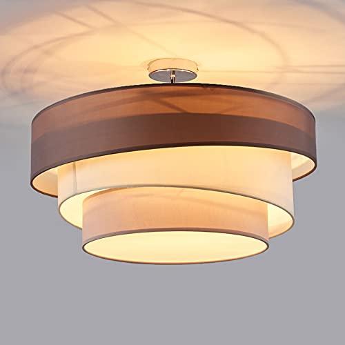 Lindby Textil Deckenleuchte rund 3 flammig | 3 Ringe | Deckenlampe Stoff Braun, Weiß, Grau | 3x E27 max. 60W | ohne Leuchtmittel | Schlafzimmerleuchte