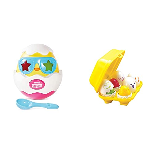 Toomies E72816C Beat It Egg Musical Baby Sensory Toys with Lights and Sounds Perfect Girl Boy, Multi & TOMY Hide and Squeak Eggs, Educational Shape Sorter Baby, Toddler & Kids Toy