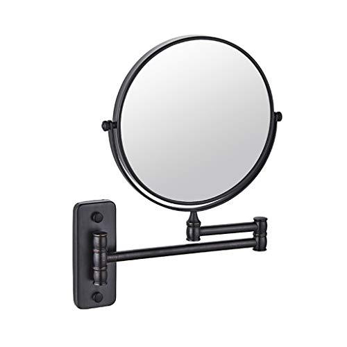 ALYR Miroir de Maquillage, Support de Salle de Bains Miroir de Maquillage Pliage télescopique Double Face Grossissement 1X / 3X,Black_8 inch