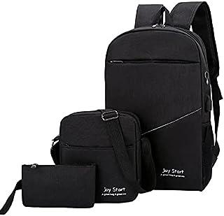 Business Laptop Backpack Unisex Travel Rucksack School Bag 3 Pieces Smart Backbag - Black