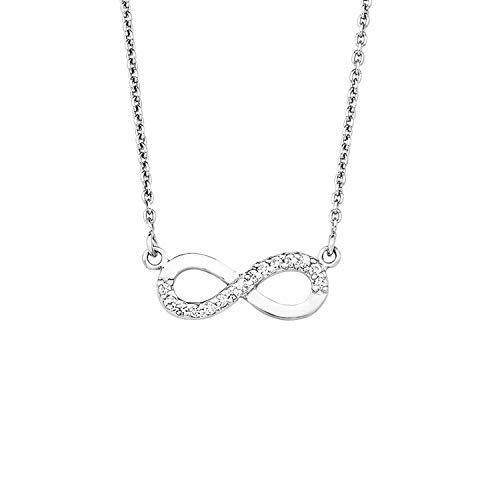 amor Kette mit Anhänger für Damen 45 cm mit Anhänger Infinity Unendlichkeitszeichen 925 Silber rhodiniert Zirkonia weiß