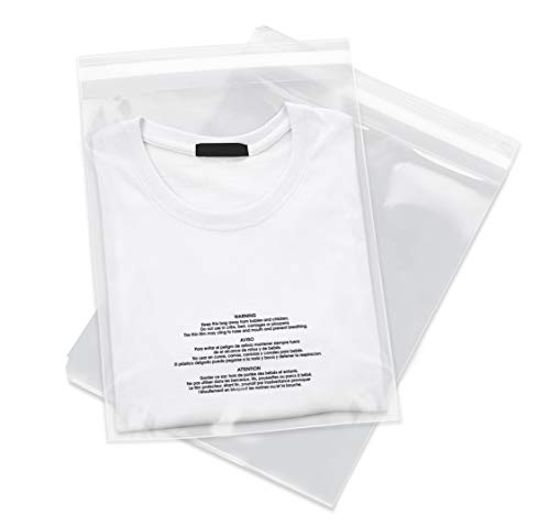 """Spartan Industrial - 9"""" X 12"""" (1000 Count) Self Seal Clear Poly Bags with Suffocation Warning for Packaging, T Shirts & FBA - Permanent Adhesive"""