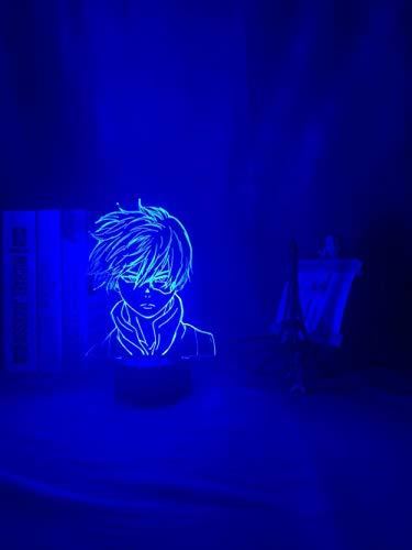 ASQWZX 3D-Nachtlicht mit Anime-Motiv, My Hero Academia Shoto Todoroki-Gesicht, LED-Nachtlicht, Lampe, Acryl, Tischlampe, Geschenk für Kinder, Jungen, Schlafzimmer, Dekoration