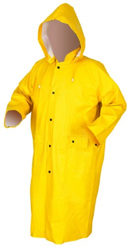 Price comparison product image MCR Safety 600CL 49-Inch Commodore PVC / Non-Woven Polyester / Nylon Rain Coat with Cape Vented Back and Detachable Hood,  Yellow,  Large