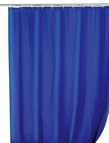 WENKO Duschvorhang Uni Night Blue - wasserdicht, leicht zu pflegen, Polyethylen-Vinylacetat, 180 x 200 cm, Dunkelblau