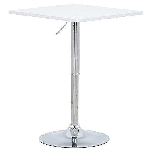 WOLTU BT03ws Table de Bar en MDF avec Pied,Table carrée Hauteur réglable,Blanc