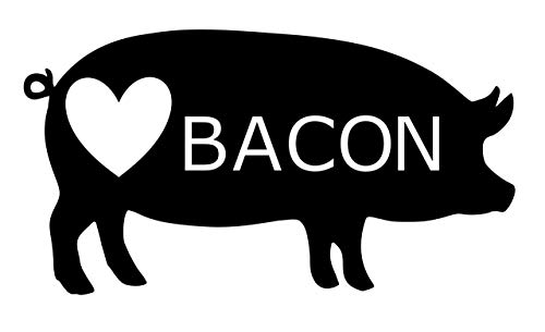 Home Grown Claremore I Love Bacon - Vinyl Decal Sticker - 5.5' W X 3' H Black HGC2025.01