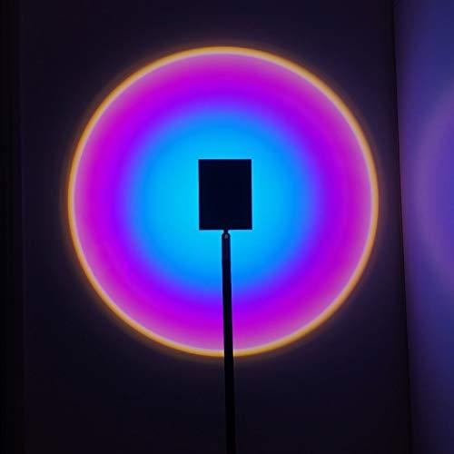 JPENG Lámpara de Proyección Sunset Lamp de Pie Lámpara de Proyección Arcoíris Rotación Lámpara de Proyector de Atardecer de Luz de Noche Led Lámpara para Decoración de Fondo de Dormitorio Lámpara