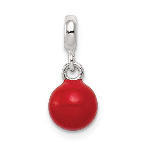 925 Sterling Silver Red Enameled Bead Enhancer Necklace Pendant Charm Fine Jewelry For Women Gifts For Her